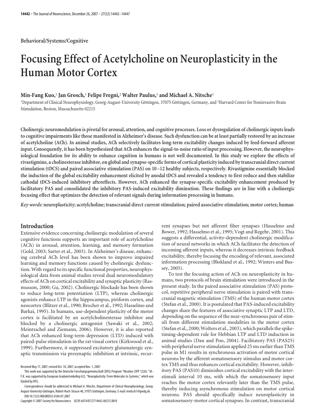 Focusing Effect of Acetylcholine on Neuroplasticity in the Human Motor Cortex