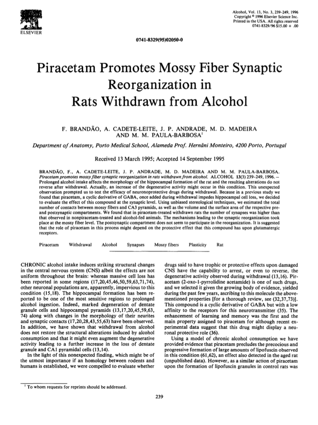 Piracetam Promotes Mossy Fiber Synaptic Reorganization in Rats Withdrawn from Alcohol