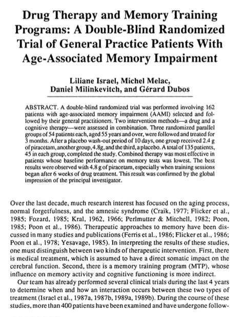 Drug therapy and memory training programs: a double-blind randomized trial of general practice patients with age-associated memory impairment